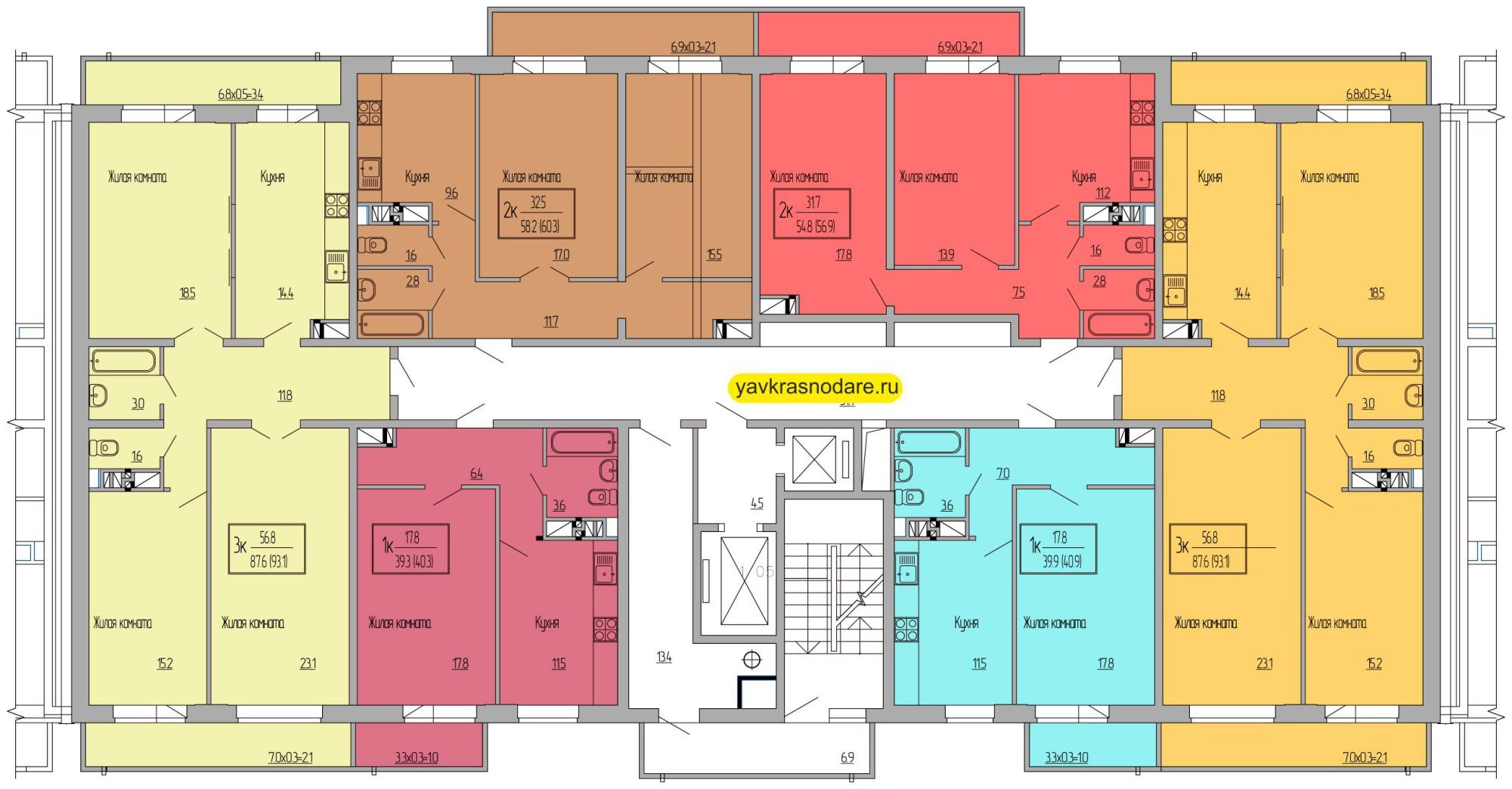 Атмосфера, 2 подъезд, 16-18 этажи