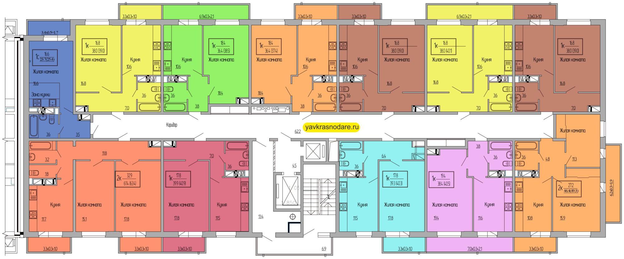 Атмосфера, 3 подъезд, 8-15 этажи